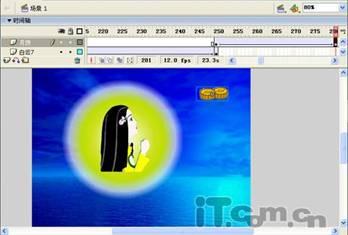 """动画 贺卡 flash/创建一个新层并更名为""""月饼"""",在第250帧、第280帧处各插入..."""